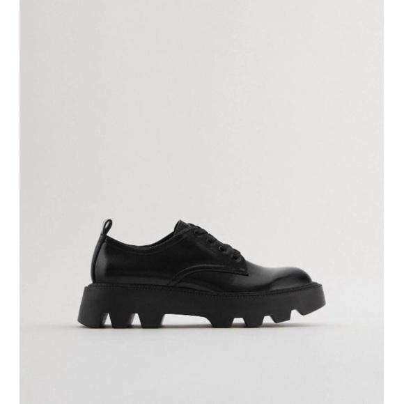 Zara Flat Platform Derby Black Shoes